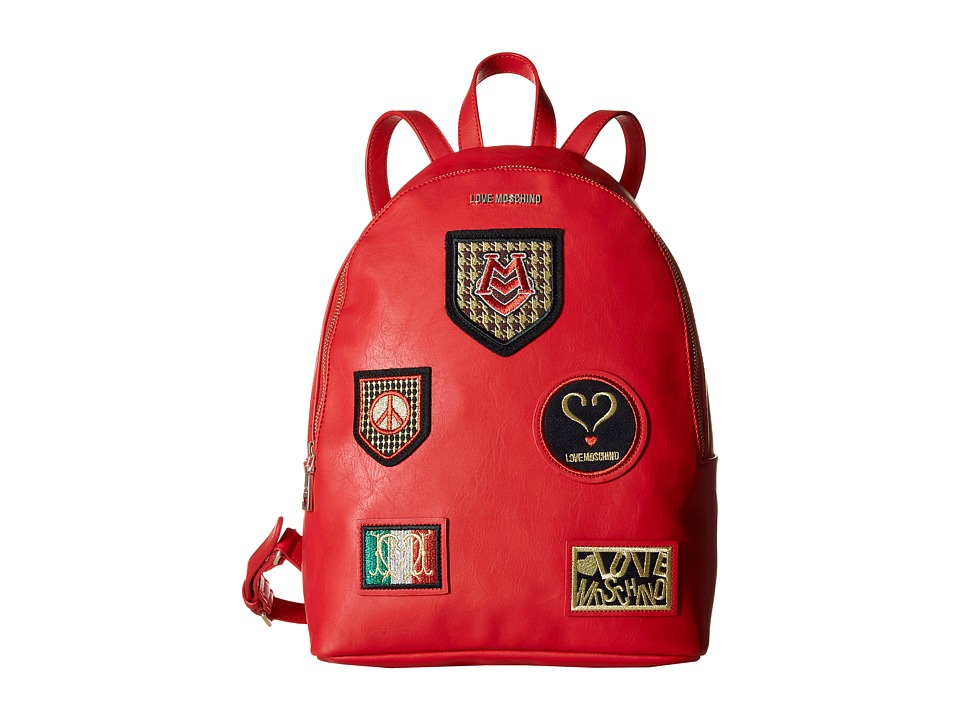 LOVE Moschino - Patched Backpack (Red) Backpack Bags