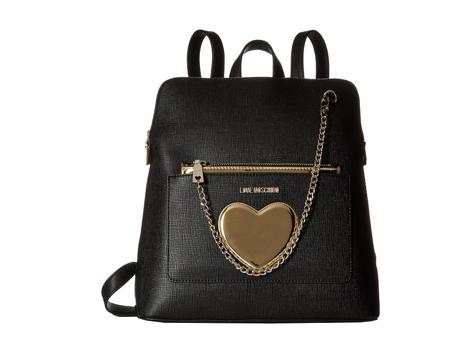 LOVE Moschino - Chained Heart Backpack (Black) Backpack Bags