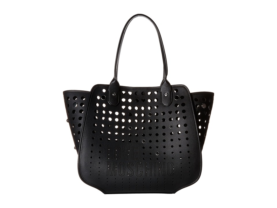 LOVE Moschino - Perforated Tote (Black) Tote Handbags