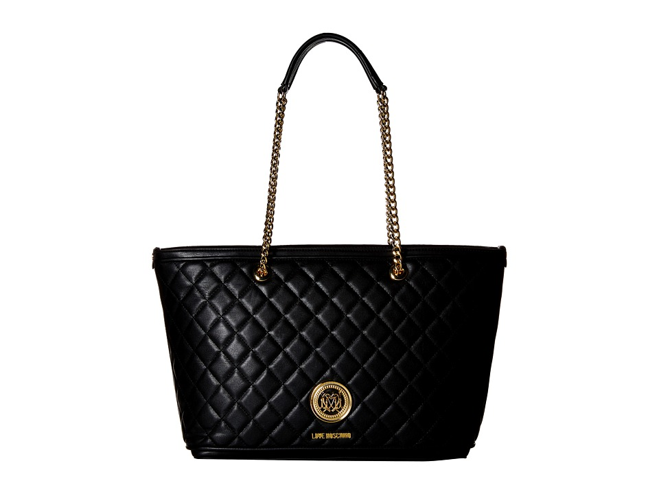 LOVE Moschino - Superquilted Chain Strap Tote (Black) Tote Handbags