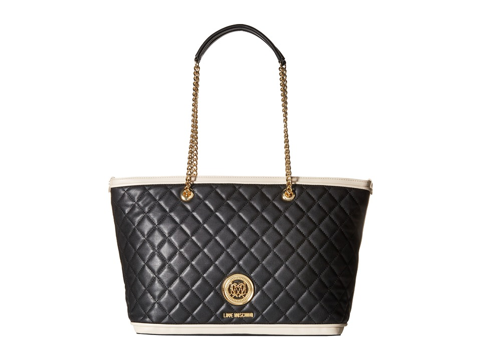 LOVE Moschino - Superquilted Chain Strap Tote (Black/White) Tote Handbags