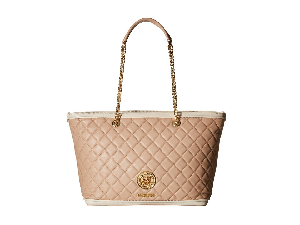 LOVE Moschino - Superquilted Chain Strap Tote (Pink/Ivory) Tote Handbags