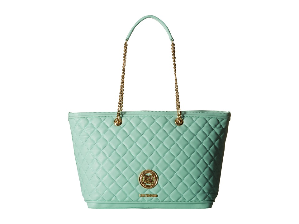 LOVE Moschino - Superquilted Chain Strap Tote (Mint) Tote Handbags