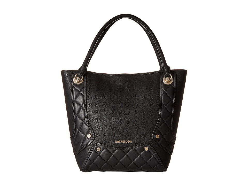 LOVE Moschino - Pebble Quilted Satchel (Black) Satchel Handbags