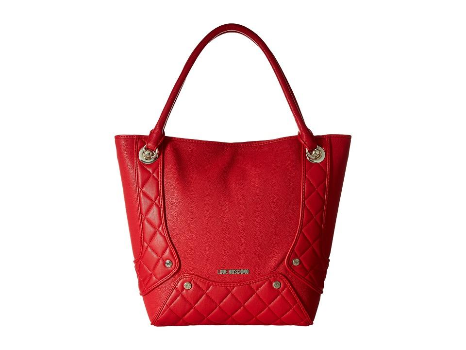 LOVE Moschino - Pebble Quilted Satchel (Red) Satchel Handbags