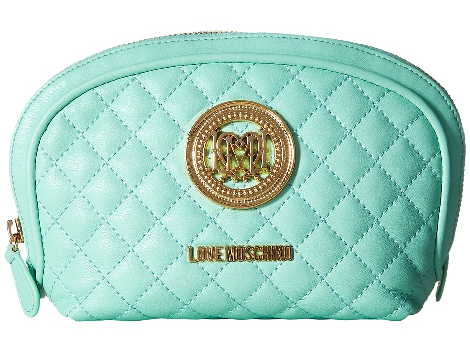 LOVE Moschino - Quilted Makeup Bag (Mint) Handbags