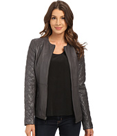 T Tahari - Quilted Sleeve Zip Front Leather