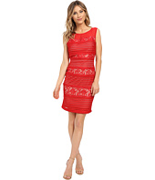 Sangria - Textured Stripe and Lace Sheath