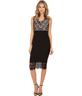 Sangria - V-Neck Lace and Shutter Pleat Midi Length Sheath