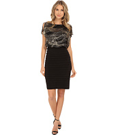 Sangria - Metallic Swirl Print Blouson with Shutter Pleat Skirt Sheath