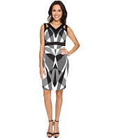 Sangria - Geo Print Scuba Cutout Shoulder Sheath
