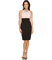 Sangria - Halter Neck Embellished Should Contrast Sheath