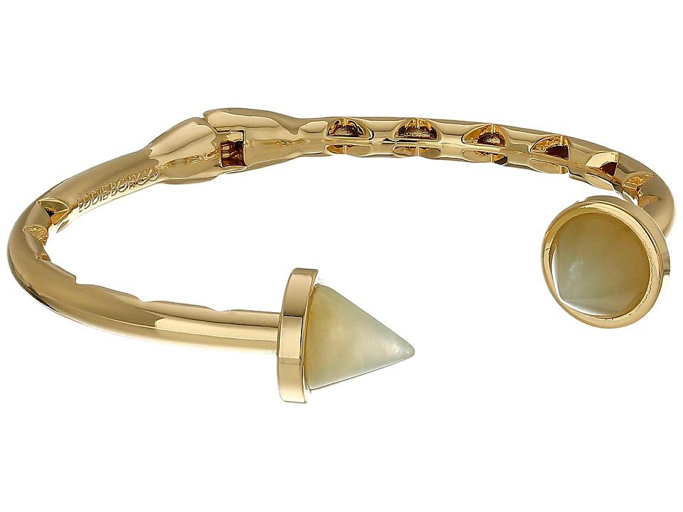 Eddie Borgo Inlaid Bicone Hinged Cuff Gold Bracelet