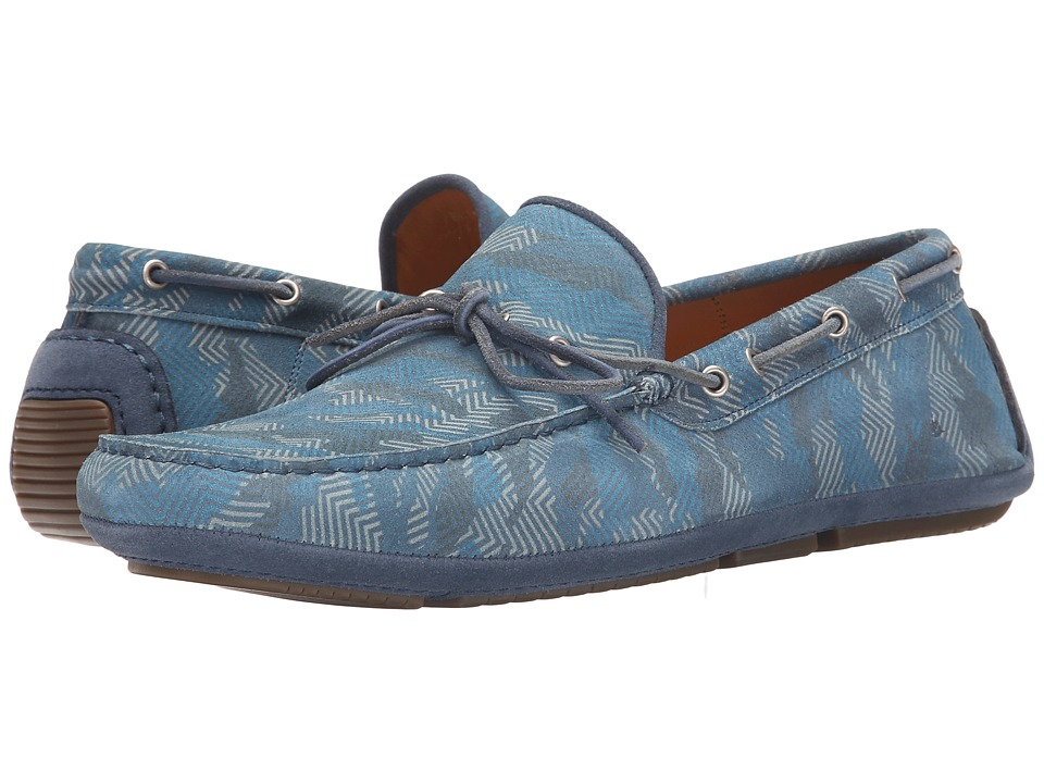 Aquatalia Blake Denim Blue Printed Suede Mens Lace Up Moc Toe Shoes