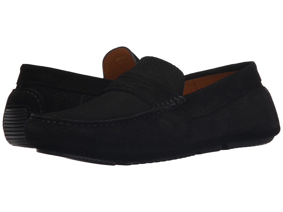 Aquatalia Bruce Black Woven Suede Mens Slip on Shoes