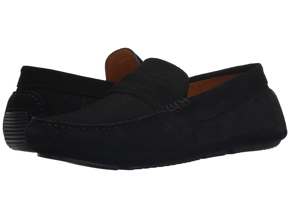 Aquatalia Bruce Black Woven Suede Mens Slip on Shoes