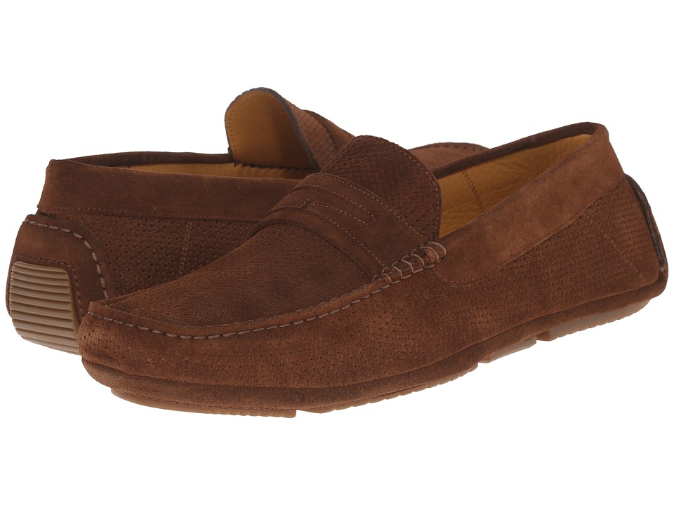 Aquatalia Bruce Medium Brown Woven Suede Mens Slip on Shoes