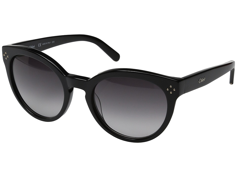 Chloe Boxwood Round Black Fashion Sunglasses