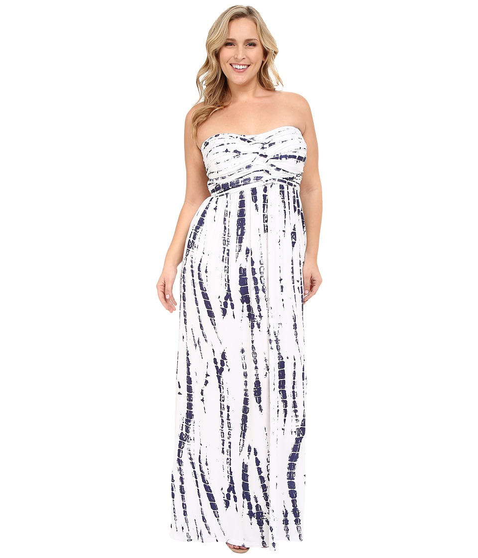 Culture Phit Plus Size Liliana Maxi Dress White/Navy Tie Dye Womens Dress