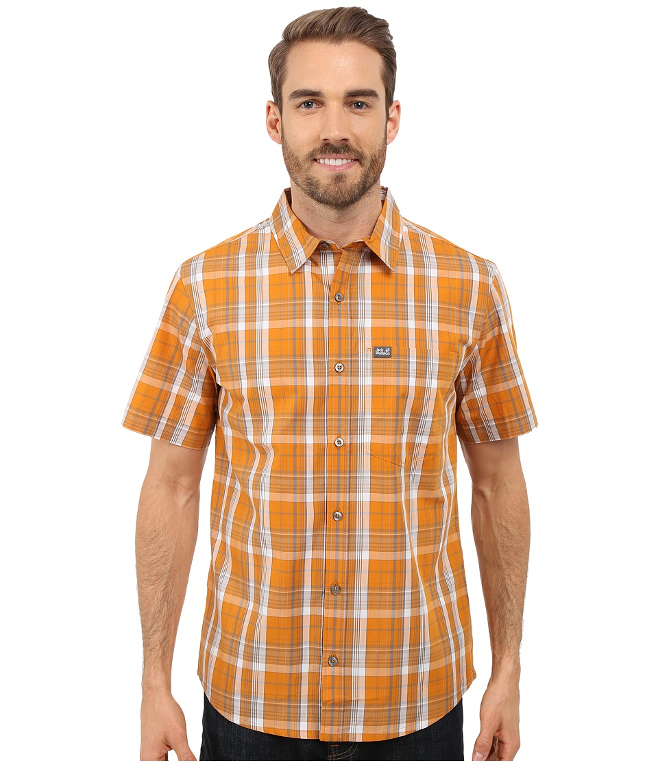 Jack Wolfskin Hot Chili Shirt Curcuma Checks Mens Short Sleeve Button Up