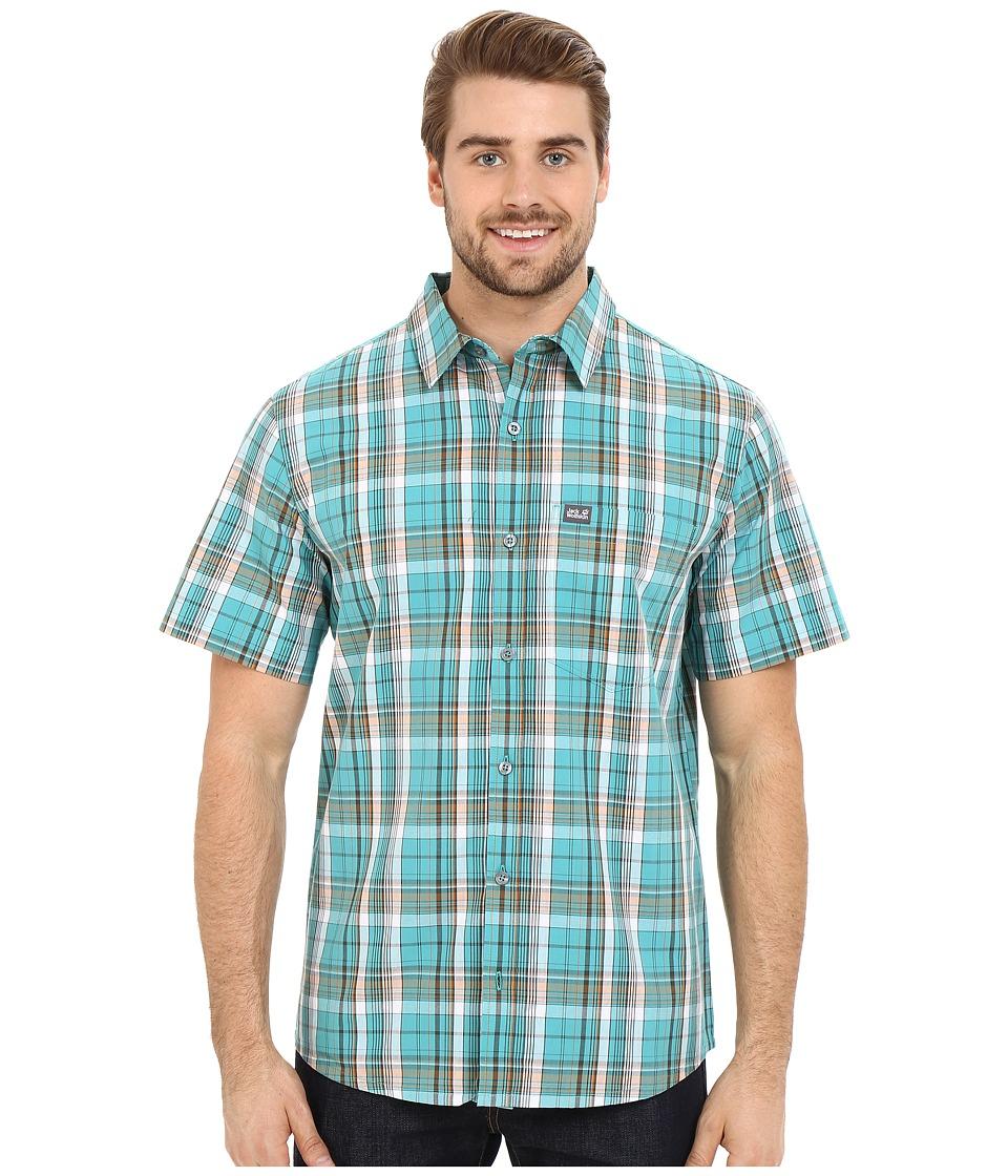 Jack Wolfskin Hot Chili Shirt Spearmint Checks Mens Short Sleeve Button Up
