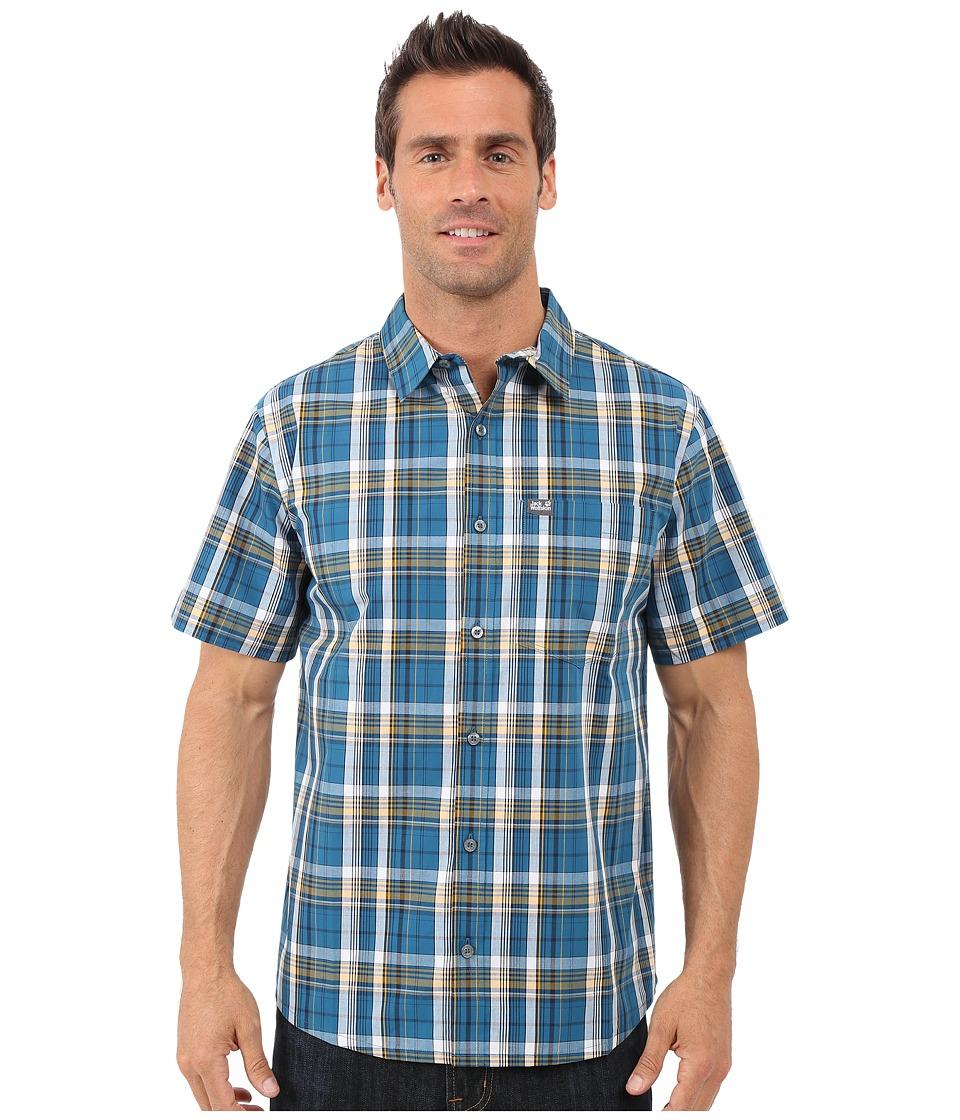 Jack Wolfskin Hot Chili Shirt Moroccan Blue Light Checks Mens Short Sleeve Button Up