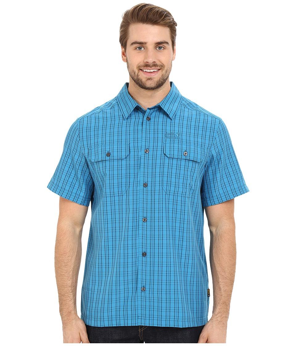 Jack Wolfskin Thompson Shirt Dark Turquoise Checks Mens Clothing