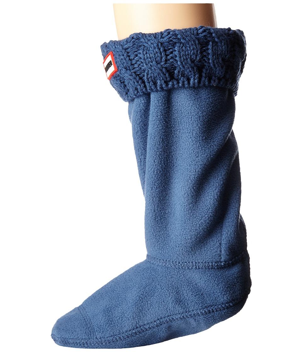 Hunter Kids 6 Stitch Cable Boot Sock Toddler/Little Kid/Big Kid Tarp Blue Girls Shoes