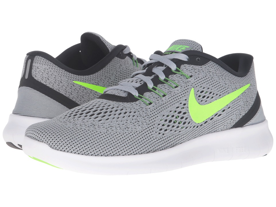 Nike Free RN Pure Platinum/Anthracite/Black/Electric Green Mens Running Shoes