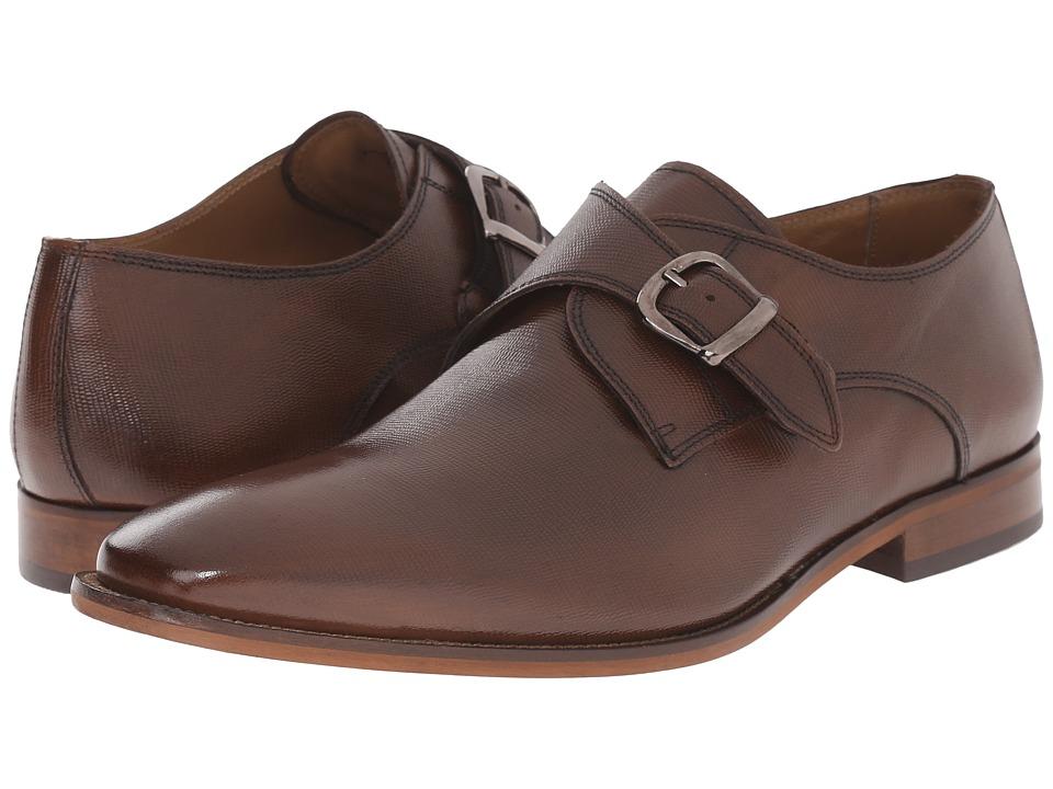 Florsheim - Sabato Plain Toe Monk Tan Printed Mens Slip-on Dress Shoes $130.00 AT vintagedancer.com