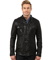 Kenneth Cole Sportswear - Distressed Leather Jacket with Chest Pockets