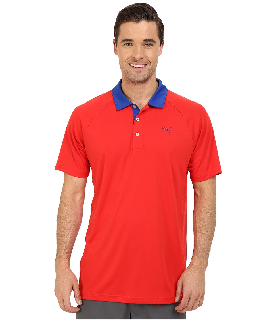 PUMA Golf Short Sleeve Dynamic Vent Polo High Risk Red Mens Short Sleeve Pullover