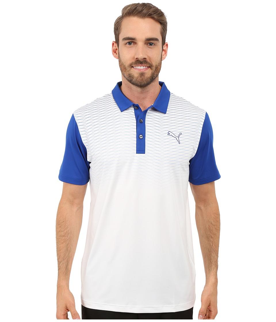 PUMA Golf GT Color Block Fade Polo Surf The Web Mens Clothing