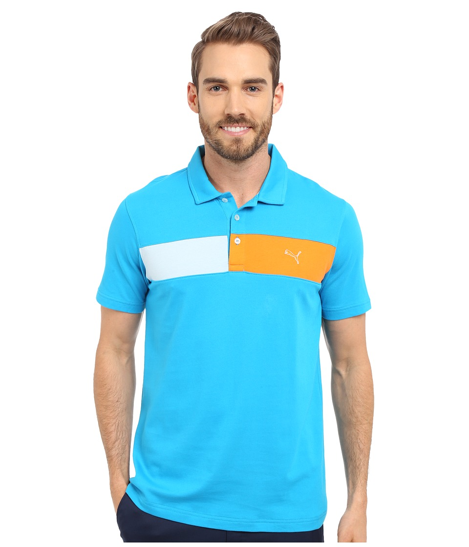 PUMA Golf Short Sleeve Cool Touch Polo Atomic Blue Mens Short Sleeve Pullover