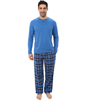 Jockey - Flannel Sleep Pants with Solid Long Sleeve Jersey Henley Top Boxed Set