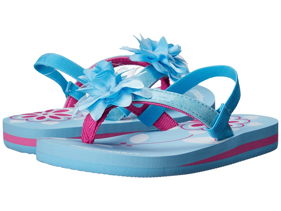 Crabbyclaws Flower Toddler/Little Kid/Big Kid Light Blue/Fuchsia Girls Shoes
