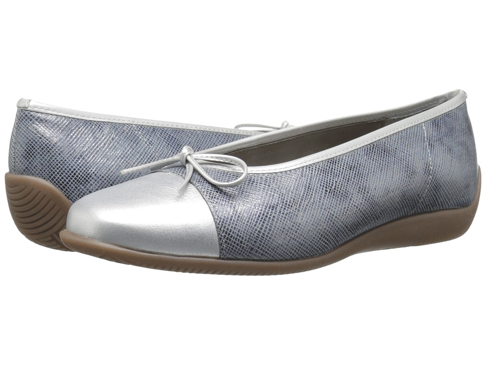 ara Bella Blue Metallic/Silver Metallic Womens Dress Flat Shoes