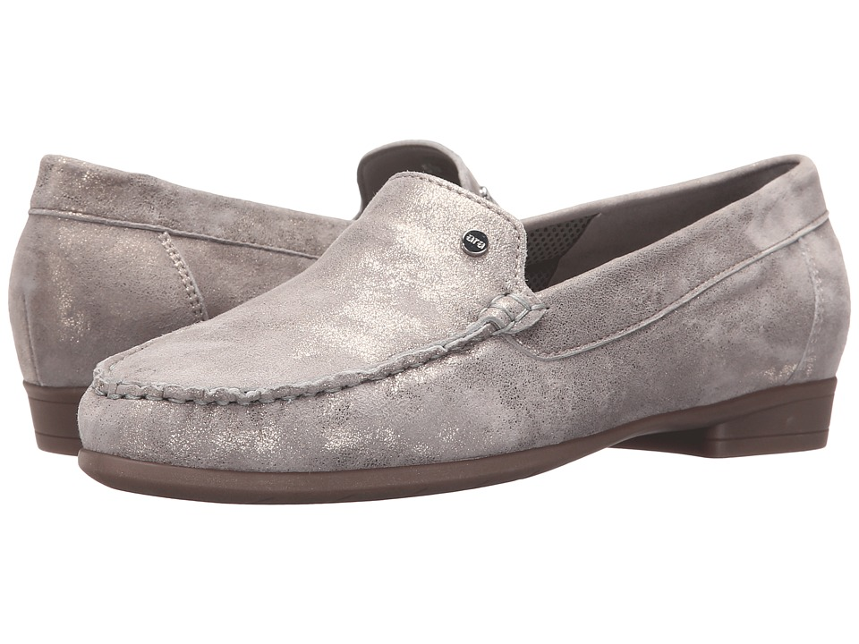 ara Barb Grey Metallic Suede Womens Slip on Shoes