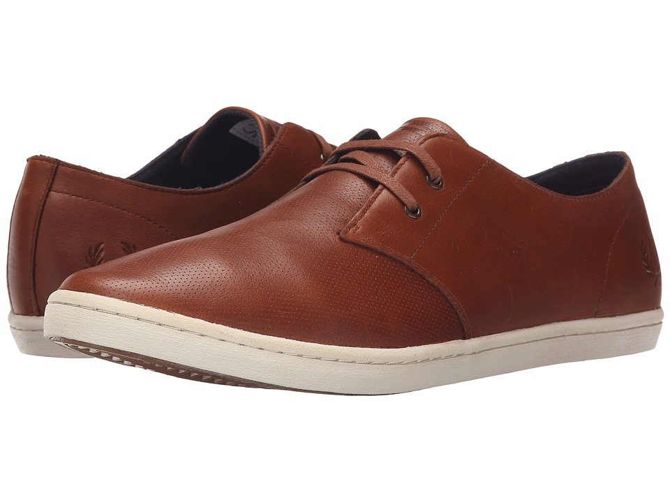 Fred Perry Byron Low Perf Leather Tan Mens Lace up casual Shoes