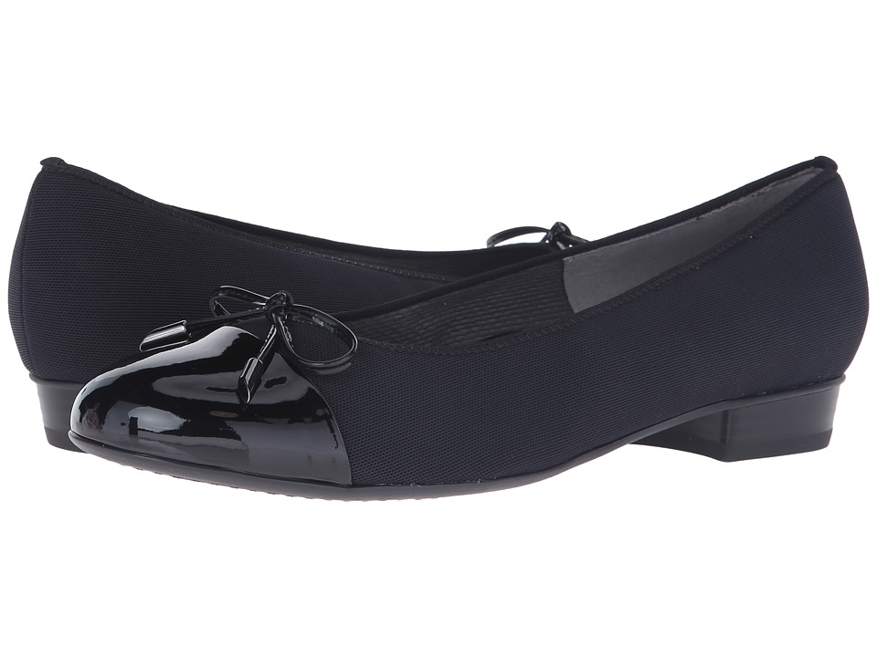ara Betty Black Fabric/Patent Toe Womens Shoes