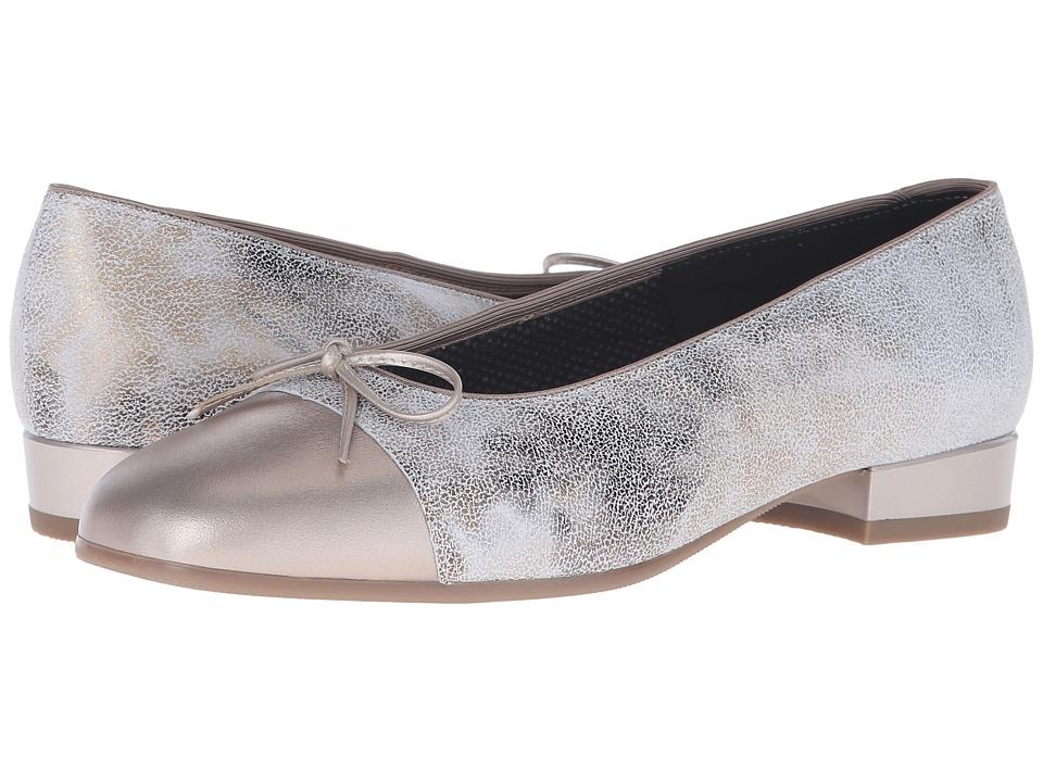 ara Bel Taupe Paradise/Silver Metallic Toe Womens Slip on Dress Shoes