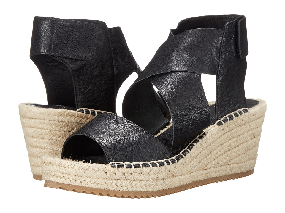 Eileen Fisher Willow (Black Tumbled Leather) Wedges
