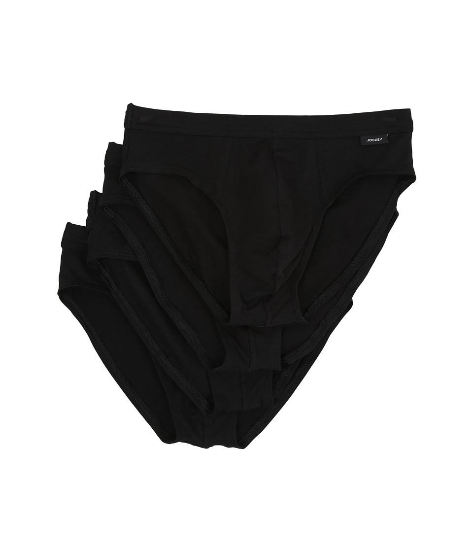 Jockey Cotton Stretch Low Rise Bikini Black Mens Underwear