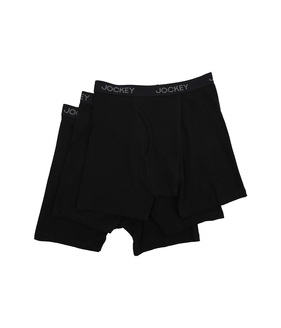 Jockey Cotton Stretch Full Rise Midway Brief Black Mens Underwear