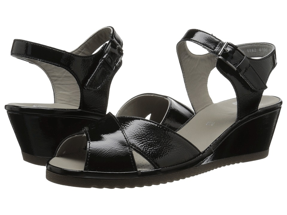 ara Cadence Black Patent Womens Sandals
