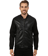 Perry Ellis - Faux Leather and Nylon Bomber