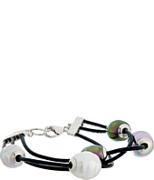 Majorica - Baroque Pearl 3 Row Leather Bracelet
