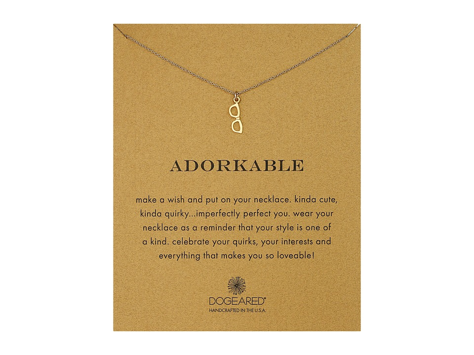 Dogeared Adorkable Glasses Reminder Necklace Gold Dipped Necklace