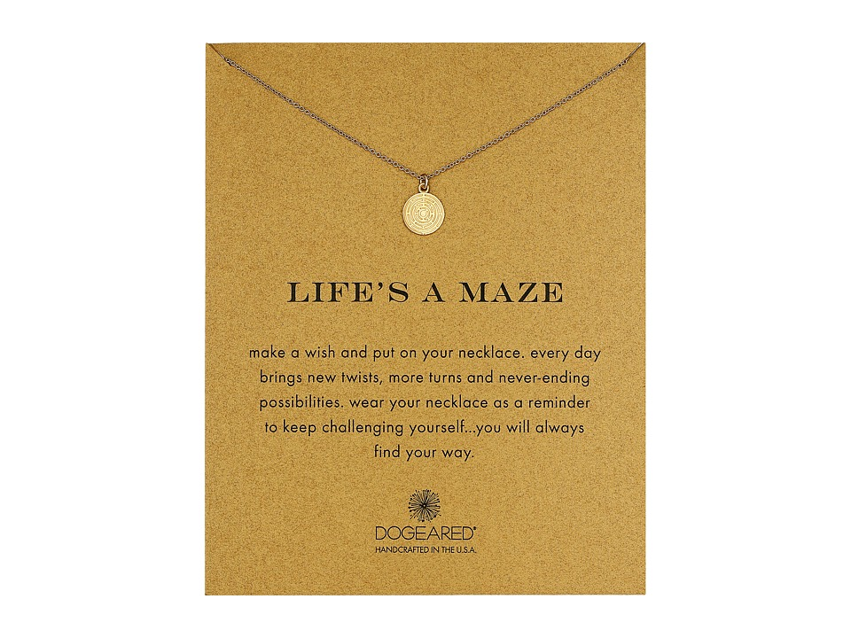 Dogeared Lifes a Maze Reminder Necklace Gold Dipped Necklace