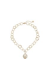 Majorica - Baroque Pearl Hammered Pendant Necklace